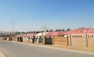 Nkungu St with 'elephant houses' Soweto 