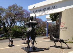 Deborah Bell's large scale bronze of Diana and her hunting dogs outside the Everard Read Gallery