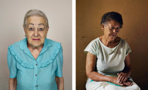 Pieter Hugo, left: Rina Veldsman, Monte Rosa Old Age Home, Cape Town, 2013; right: Ann Sallies, who worked for my parents and helped raise their children, Douglas, 2013, C-prints From the 'Kin' exhibition invitation