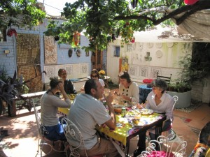 Lunch under the pergola in Spaza's courtyard