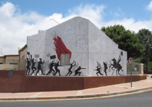 Andrew Lindsay's mosaic commemorating the battle of Ellis Park during the 1922 Miners' Revolt.