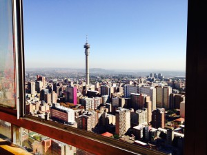 Amazing view of western and northern Joburg from Ponte apartment
