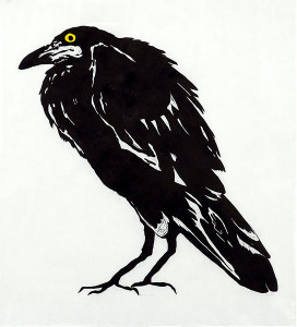 Kyõsai's Crow 2015 Linocut, chine collé Edition 5 97X92 cm